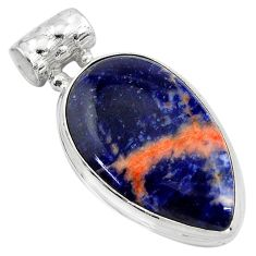 925 sterling silver 15.08cts natural orange sodalite pear pendant jewelry p85489