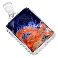 925 sterling silver 22.02cts natural orange sodalite pendant jewelry p85444