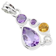 925 sterling silver 8.44cts natural pink amethyst citrine pendant jewelry p59284