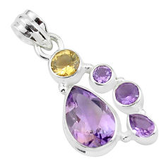 925 sterling silver 8.54cts natural pink amethyst citrine pendant jewelry p59288