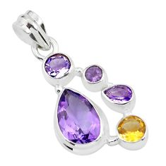 925 sterling silver 8.83cts natural pink amethyst citrine pendant jewelry p59291