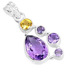 925 sterling silver 9.37cts natural pink amethyst citrine pendant jewelry p59317