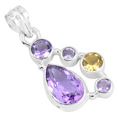925 sterling silver 8.76cts natural pink amethyst citrine pendant jewelry p59320