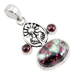925 sterling silver 14.21cts natural pink eudialyte garnet flower pendant p56847