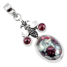 925 sterling silver 14.19cts natural pink eudialyte garnet pendant p56858