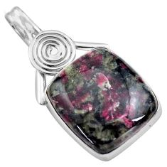 925 sterling silver 24.00cts natural pink eudialyte pendant jewelry p85574