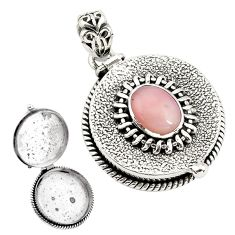 925 sterling silver 4.68cts natural pink opal poison box pendant jewelry p79871