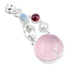 925 sterling silver 19.99cts natural pink rose quartz moonstone pendant p58904