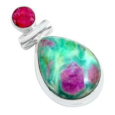 925 sterling silver 15.05cts natural pink ruby in fuchsite ruby pendant d31710
