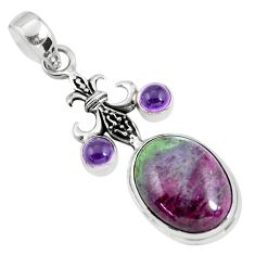 925 sterling silver 14.88cts natural pink ruby zoisite amethyst pendant p56870