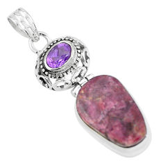 925 sterling silver 19.82cts natural pink tourmaline amethyst pendant p59032