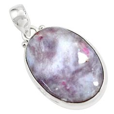 925 sterling silver 18.70cts natural pink tourmaline in quartz pendant d31790