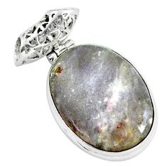 925 sterling silver 19.23cts natural pink tourmaline in quartz pendant d31798