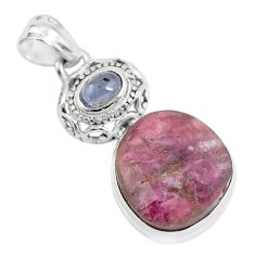 925 sterling silver 20.07cts natural pink tourmaline tanzanite pendant p59028