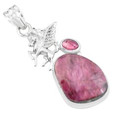 925 sterling silver 18.94cts natural pink tourmaline unicorn pendant p59036
