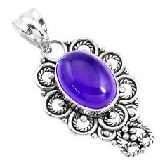 925 sterling silver 6.33cts natural purple amethyst oval pendant jewelry p39404