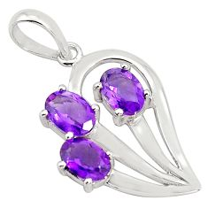 925 sterling silver 4.80cts natural purple amethyst oval pendant jewelry p82064