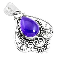 925 sterling silver 6.02cts natural purple amethyst pear pendant jewelry p39363