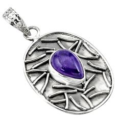 925 sterling silver 4.55cts natural purple amethyst pear pendant jewelry p78471