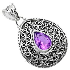 925 sterling silver 2.73cts natural purple amethyst pear pendant jewelry p86327