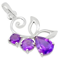 925 sterling silver 3.93cts natural purple amethyst pendant jewelry p82020