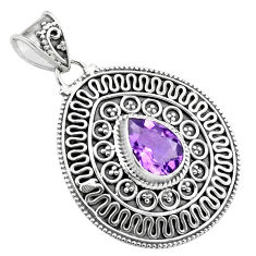 925 sterling silver 3.24cts natural purple amethyst pendant jewelry p86264