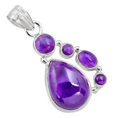 925 sterling silver 18.15cts natural purple amethyst pendant jewelry p89214
