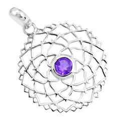 925 sterling silver 0.97cts natural purple amethyst round shape pendant p36584