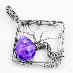 925 sterling silver 6.09cts natural purple amethyst tree of life pendant p43064