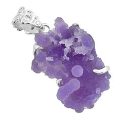 925 sterling silver 15.93cts natural purple grape chalcedony pendant p68984