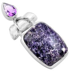 925 sterling silver 16.70cts natural purple lepidolite amethyst pendant p85555