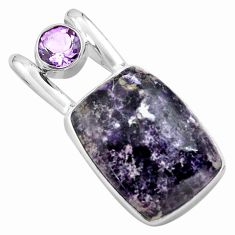 925 sterling silver 15.39cts natural purple lepidolite amethyst pendant p85558