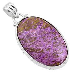 925 sterling silver 16.44cts natural purple purpurite oval shape pendant p85366