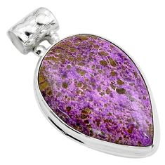 925 sterling silver 16.20cts natural purple purpurite pear pendant p85389