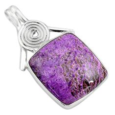 925 sterling silver 17.22cts natural purple purpurite pendant jewelry p85393