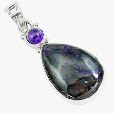 925 sterling silver 19.23cts natural purple sugilite amethyst pendant p66039