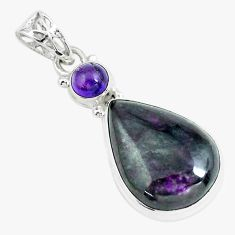 925 sterling silver 17.22cts natural purple sugilite amethyst pendant p66060