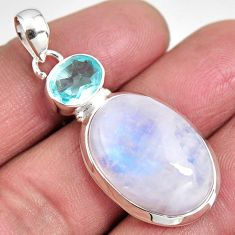 925 sterling silver 20.51cts natural rainbow moonstone blue topaz pendant p92465