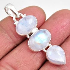 925 sterling silver 13.50cts natural rainbow moonstone oval pendant p92227