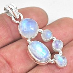 925 sterling silver 12.02cts natural rainbow moonstone pendant jewelry p33696