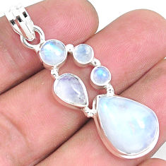 925 sterling silver 15.58cts natural rainbow moonstone pendant jewelry p39873