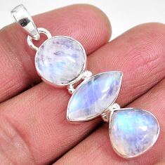 925 sterling silver 13.85cts natural rainbow moonstone pendant jewelry p92204