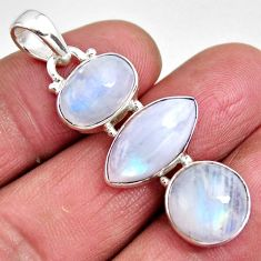 925 sterling silver 15.55cts natural rainbow moonstone pendant jewelry p92207