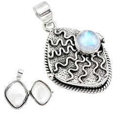925 sterling silver 4.50cts natural rainbow moonstone poison box pendant p79852
