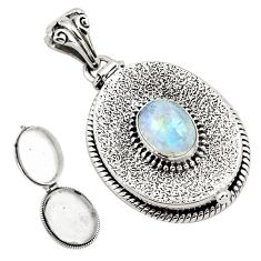 925 sterling silver 4.19cts natural rainbow moonstone poison box pendant p79920