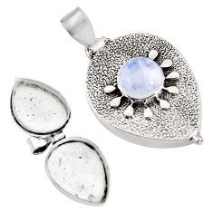 925 sterling silver 4.62cts natural rainbow moonstone poison box pendant p92872