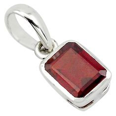 925 sterling silver 1.92cts natural red garnet octagan shape pendant p83950