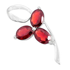 925 sterling silver 4.97cts natural red garnet oval pendant jewelry p36317