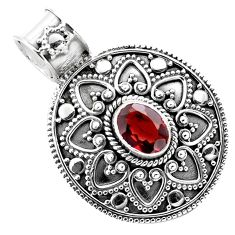 925 sterling silver 2.36cts natural red garnet oval pendant jewelry p86247
