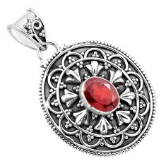 925 sterling silver 2.01cts natural red garnet oval pendant jewelry p86287